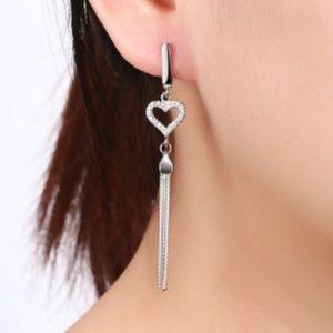 925 Sterling Silver Zircon Fringe Drop Earrings